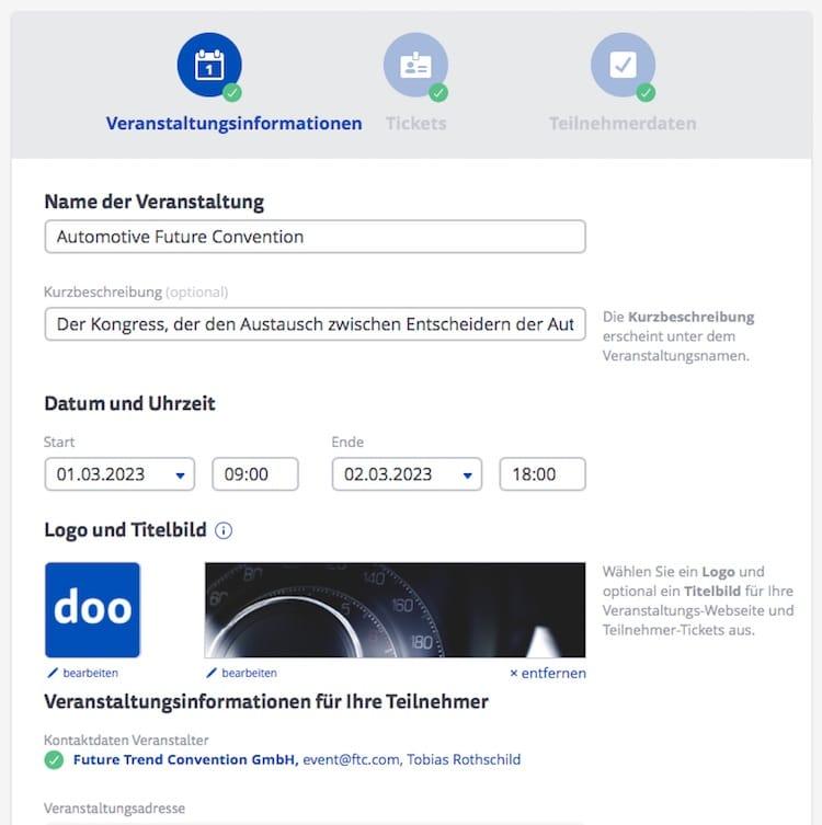 Online Anmeldeformulare erstellen Veranstaltungsinformationen