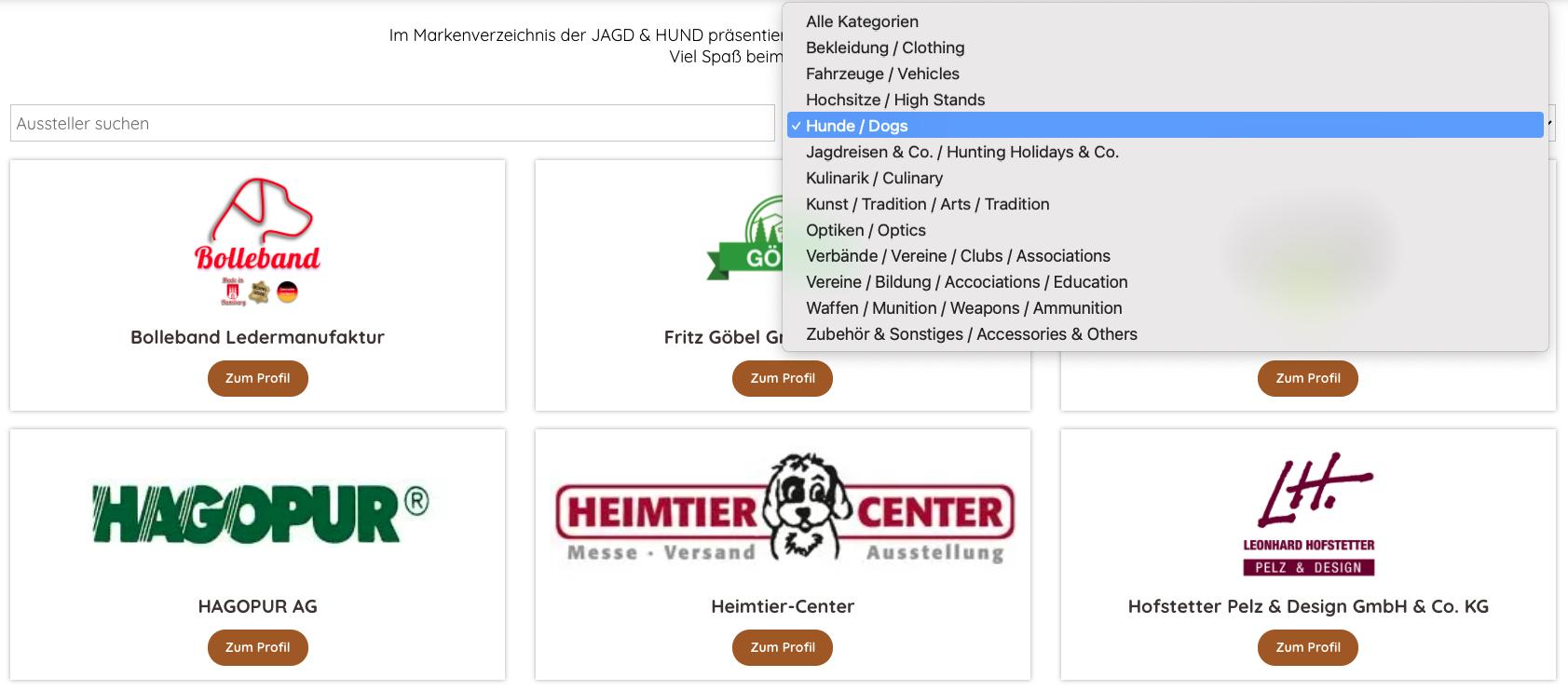 Such- und Filterfunktion Aussteller Jagd & Hund