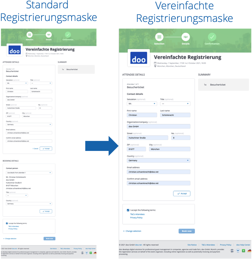 Vereinfachte Registrierungsmaske